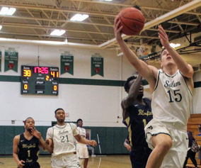 Salem University men's basketball team playing a game