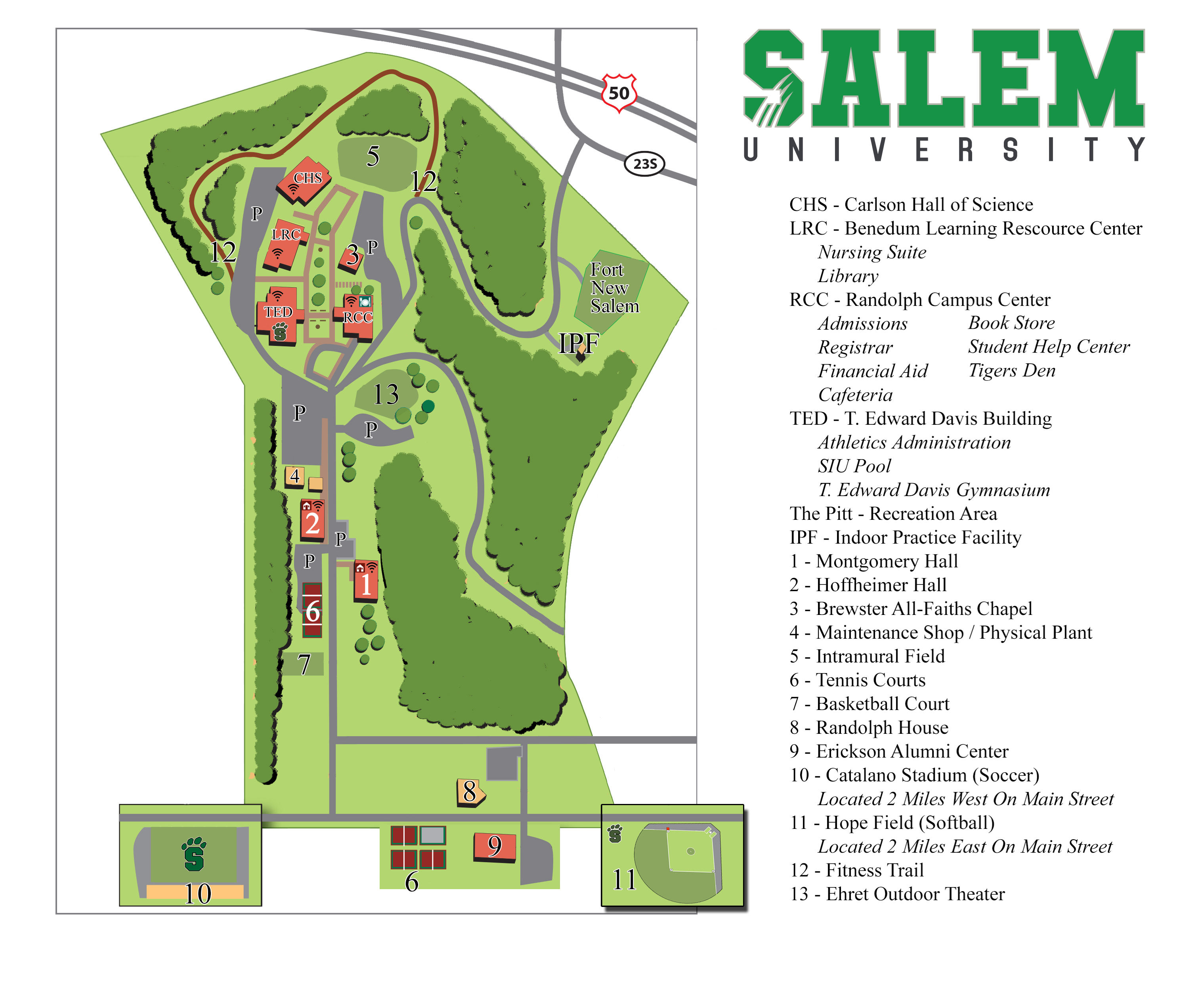 illustrated map of Salem University campus